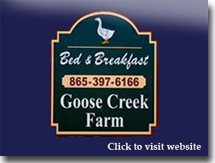 Link to website for Goose Creek farm bed and breakfast