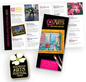 pins and brochures for Dogwood Arts Festival